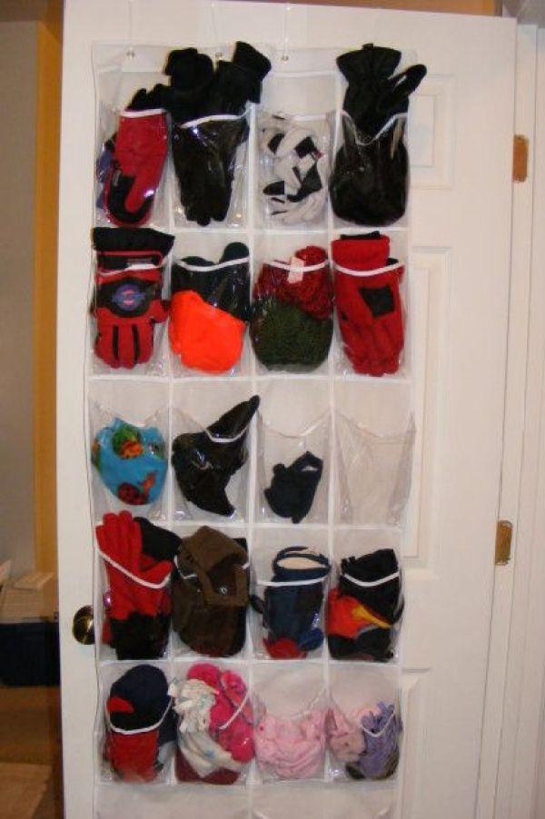 ranger accessoires hiver dans range-chaussures