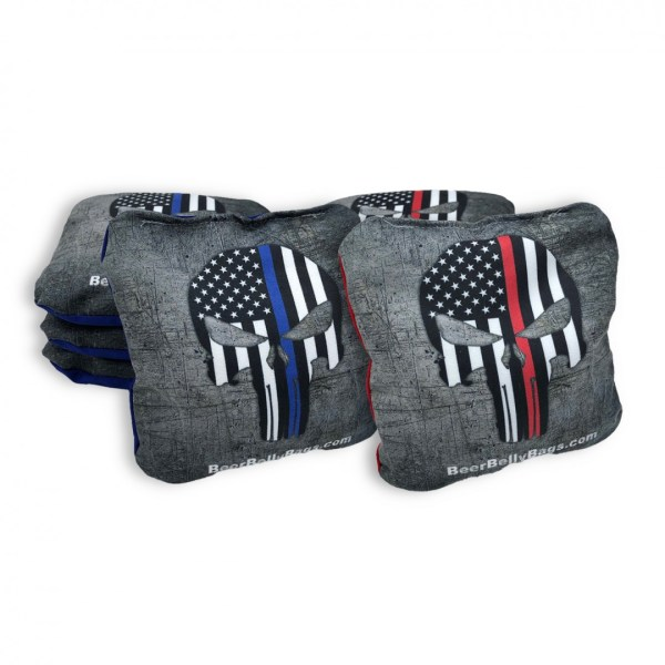 Red & Blue Punisher Skulls Set of 8 Beer Belly Bags Performance Cornhole Bags