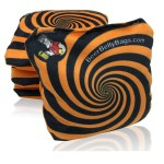 Orange Spiral Set of 4 Beer Belly Bags Performance Cornhole Bags