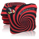 Red Spiral Set of 4 Beer Belly Bags Performance Cornhole Bags