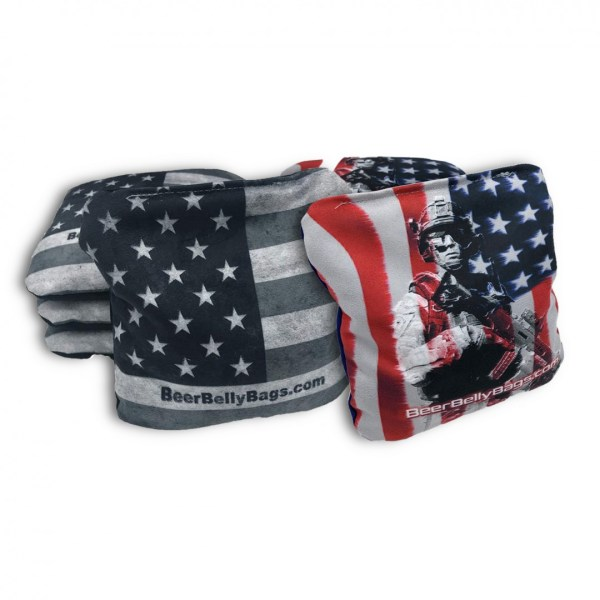 American Flag & Military Set of 8 Beer Belly Bags Performance Cornhole Bags