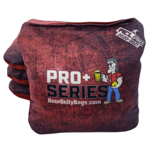 Beer Belly Bags Pro+ Series ACL Approved 2020-2021 Red Set of 4 Premium Cornhole Bags with micro suede stick side and rave weave slick side