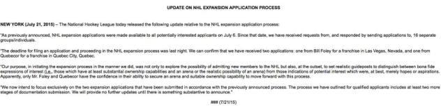 nhl press release