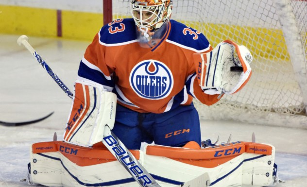 15 Oct 2015: Edmonton Oilers Goalie Cam Talbot (33) [7933] during pre game warm ups and playing his first home game against the St. Louis Blues at Rexall Place in Edmonton, Alberta, Canada. Photo Credit: Chris LaFrance