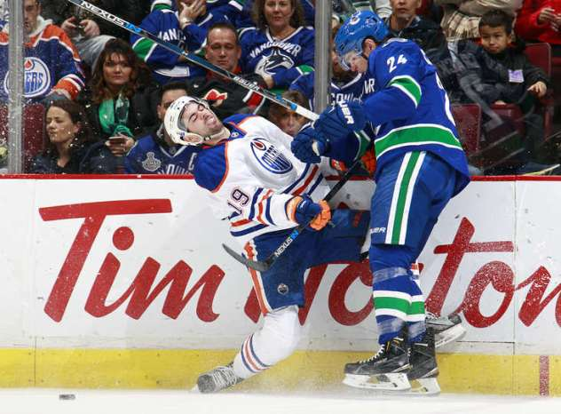 Jultz's good games to bad games ratio is at least 1-10. He was pushed around again vs the Canucks. Photo courtesy of Jeff Vinnick.