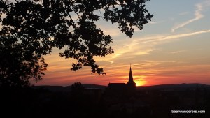sunset with church