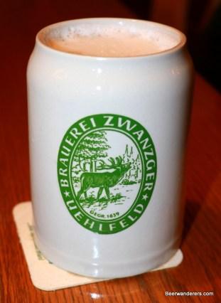 beer in ceramic mug