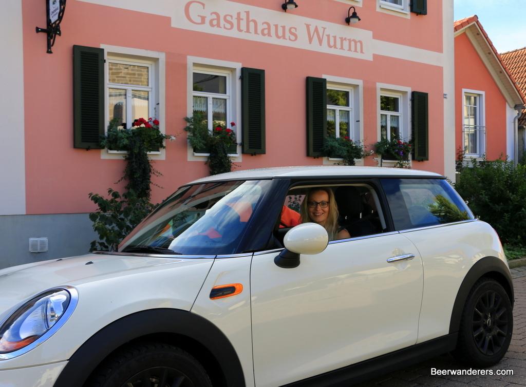 pretty blond in sports car