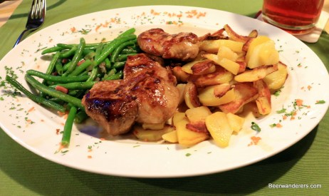 pork, green beans and potatoes