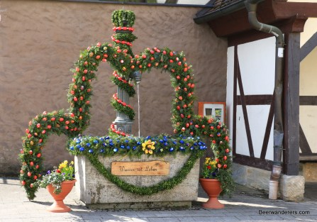 fountain with easter decorations