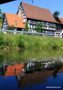 half-timbered house reflection