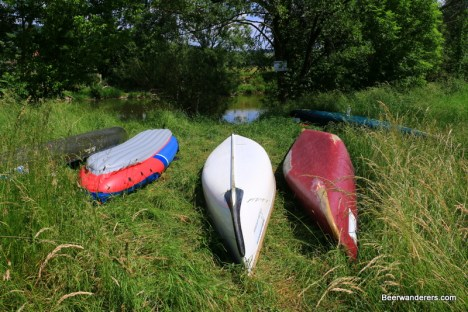 canoes in the grass
