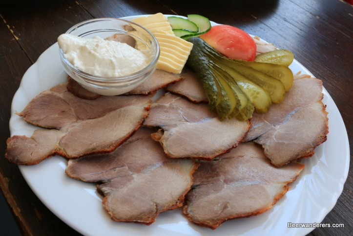 cold pork on plate