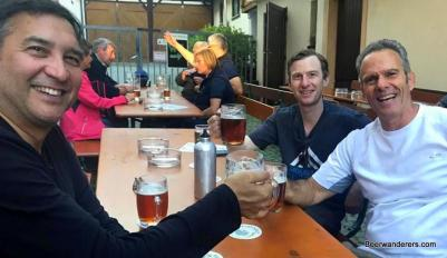beerwanderers enjoying their rewards at Lindenbräu