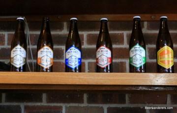 Beer bottles on shelf