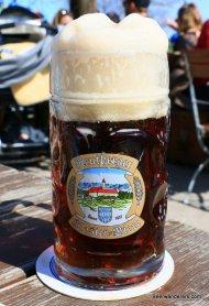 dark beer in mug with huge head