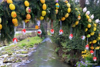 bridge decorated for Easter