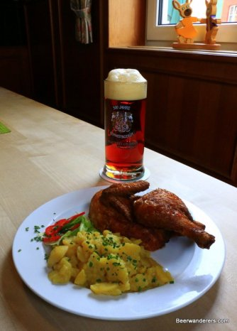 beer in mug with chicken