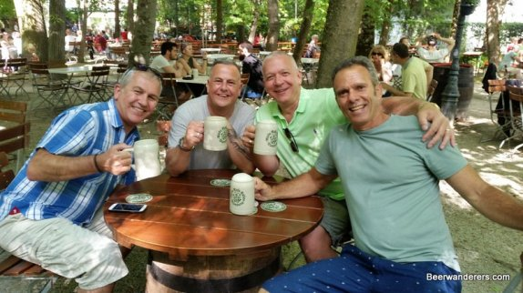 four guys at biergarten