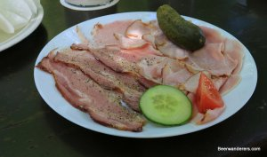 cold cuts on plate with pickel