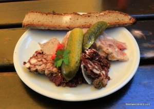 cold cuts with pickles and bread