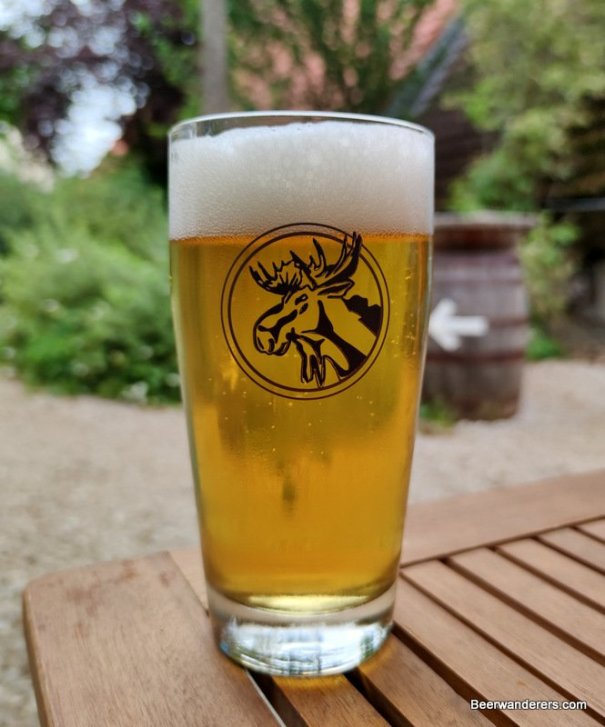 unfiltered yellow beer in glass with logo