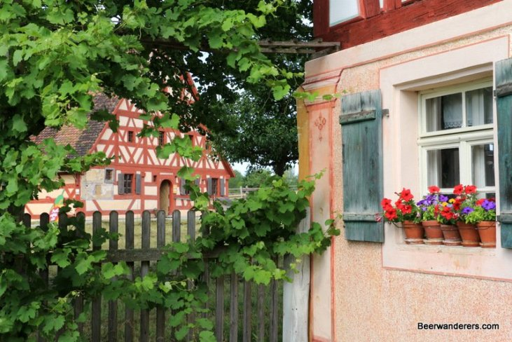 half-timbered house with flowers