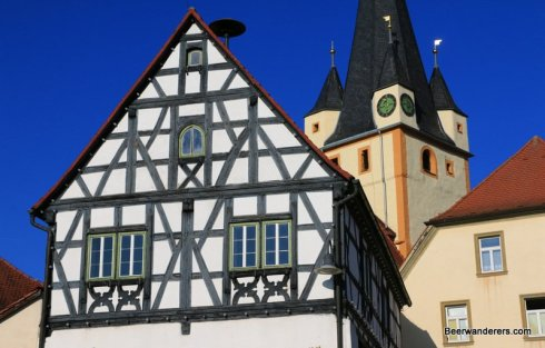 half-timbered house with church