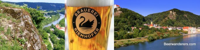 river view, beer glass logo, scenic town in hills on river