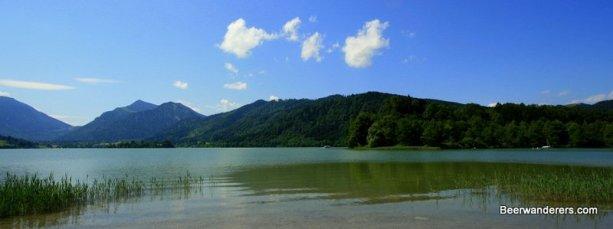 mountain behind lake