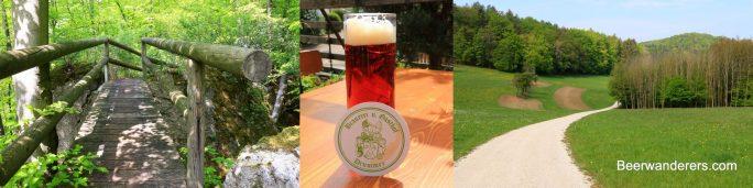 lush boardwalk trail, amber beer in mug, rural landscape