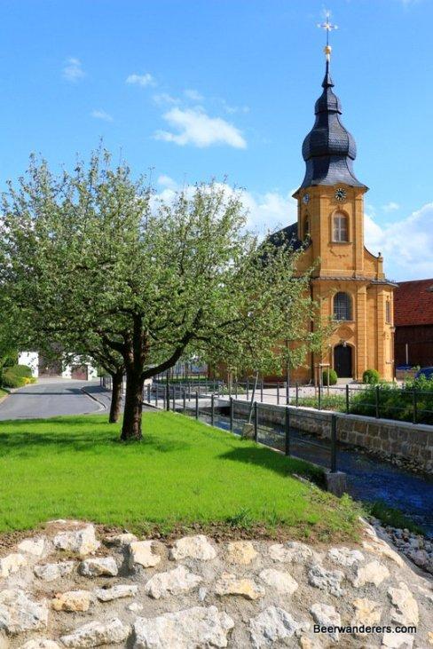 small village church on brook