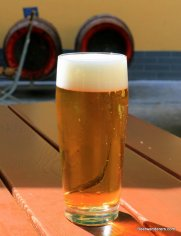 yellow beer in glass with nice head