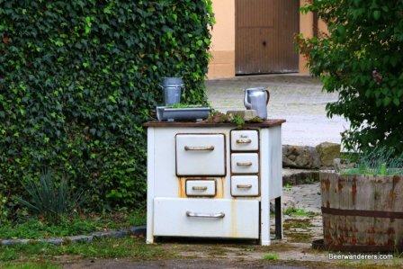 antique stove in village