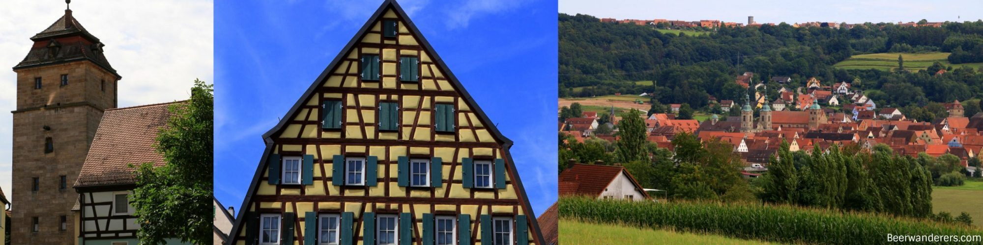 town gate, half-timbered house, view of old town from distance