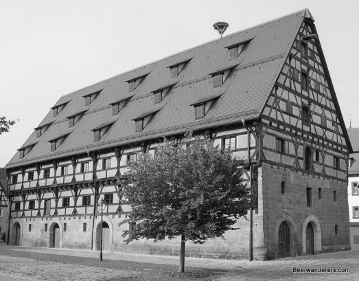 half-timbered house in black and white