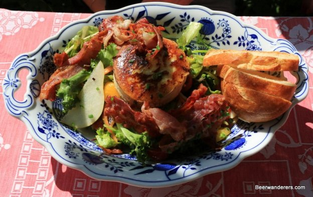 big salad with bacon and cheese