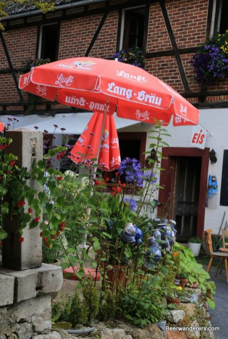 brewery umbrella with flowers