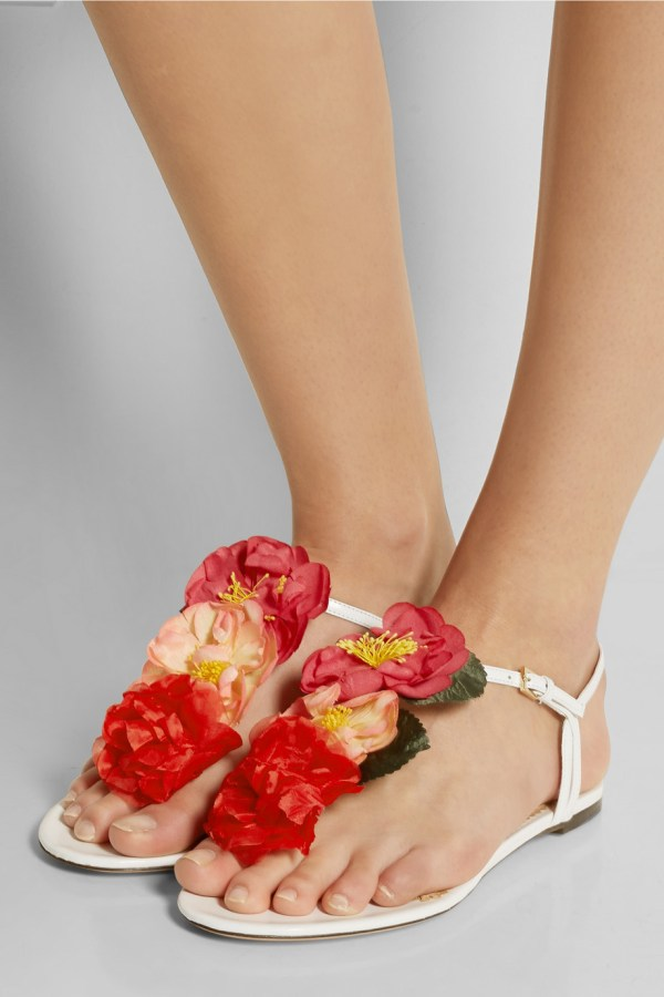 Net-a-Porter, Charlotte Olympia Rosario Floral-Embellished Leather Sandals