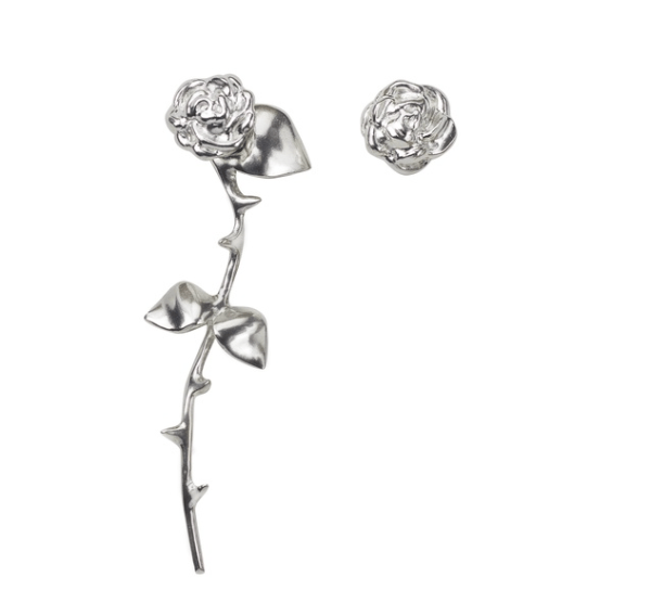 Wolf & Badger, Smith/ Grey Marina's Rose Earrings Silver