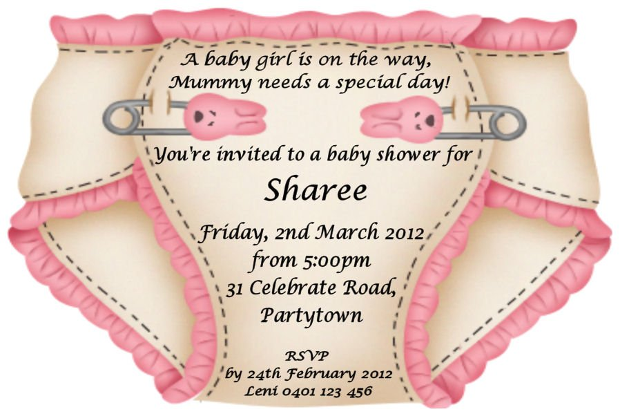 Pink Diapers Invitation Wording Ideas Free Printable Baby