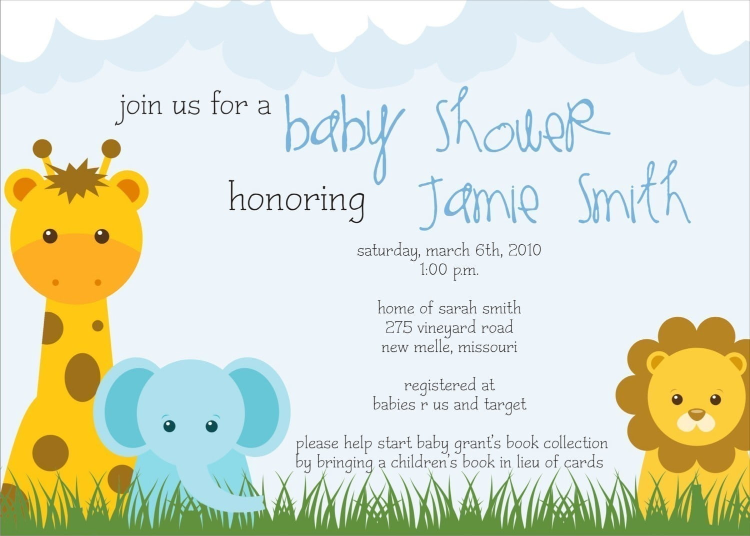 Safari Themed Baby Shower Invitations