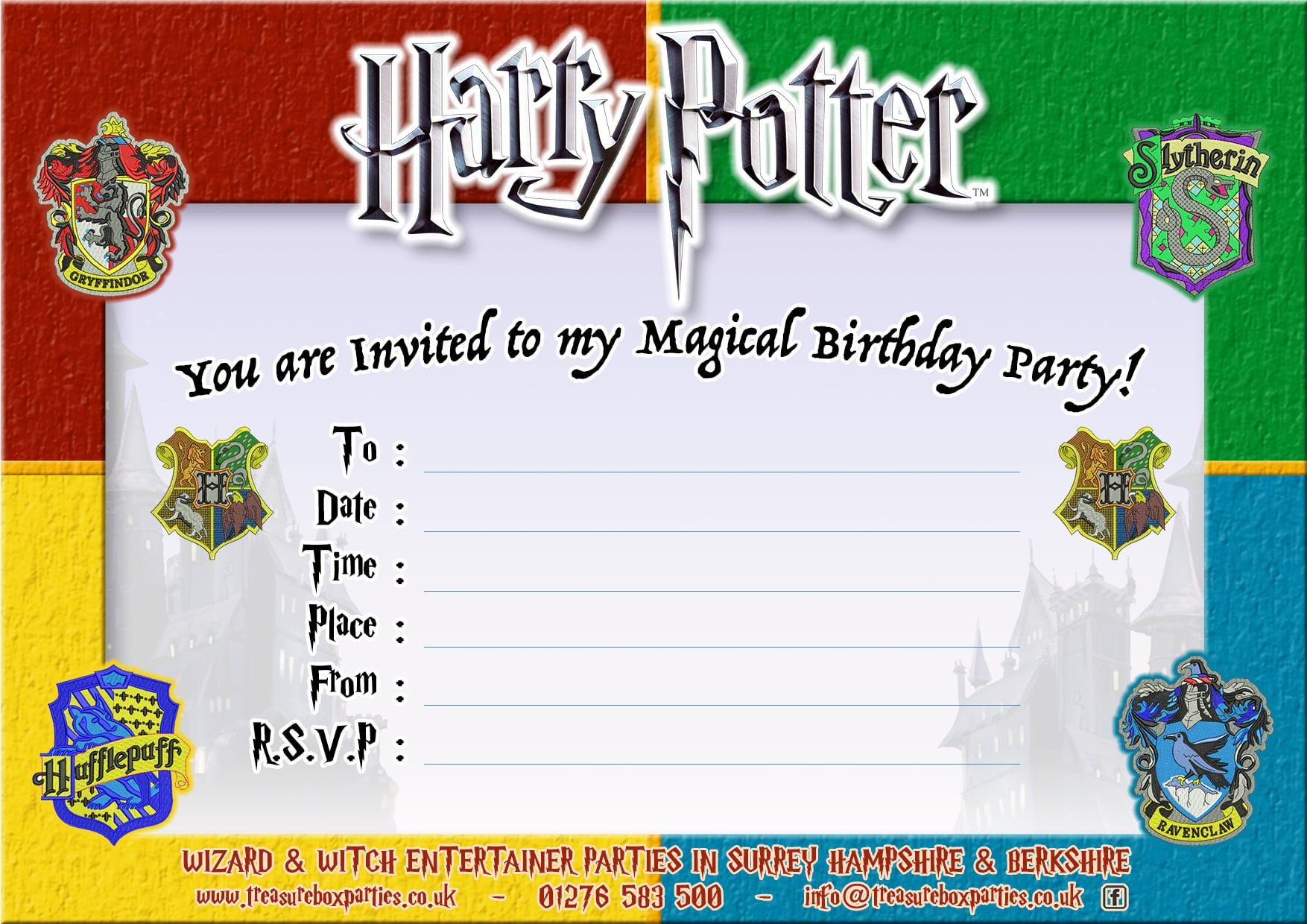harry potter birthday party invitations