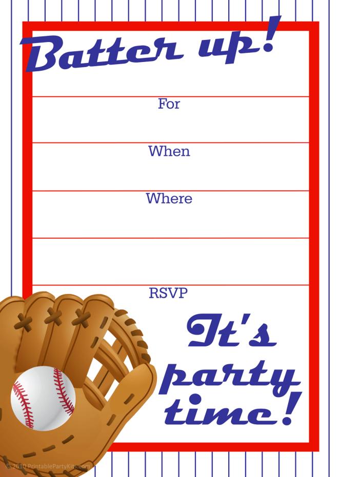 Free Printable Baseball Baby Shower Invitation Idea