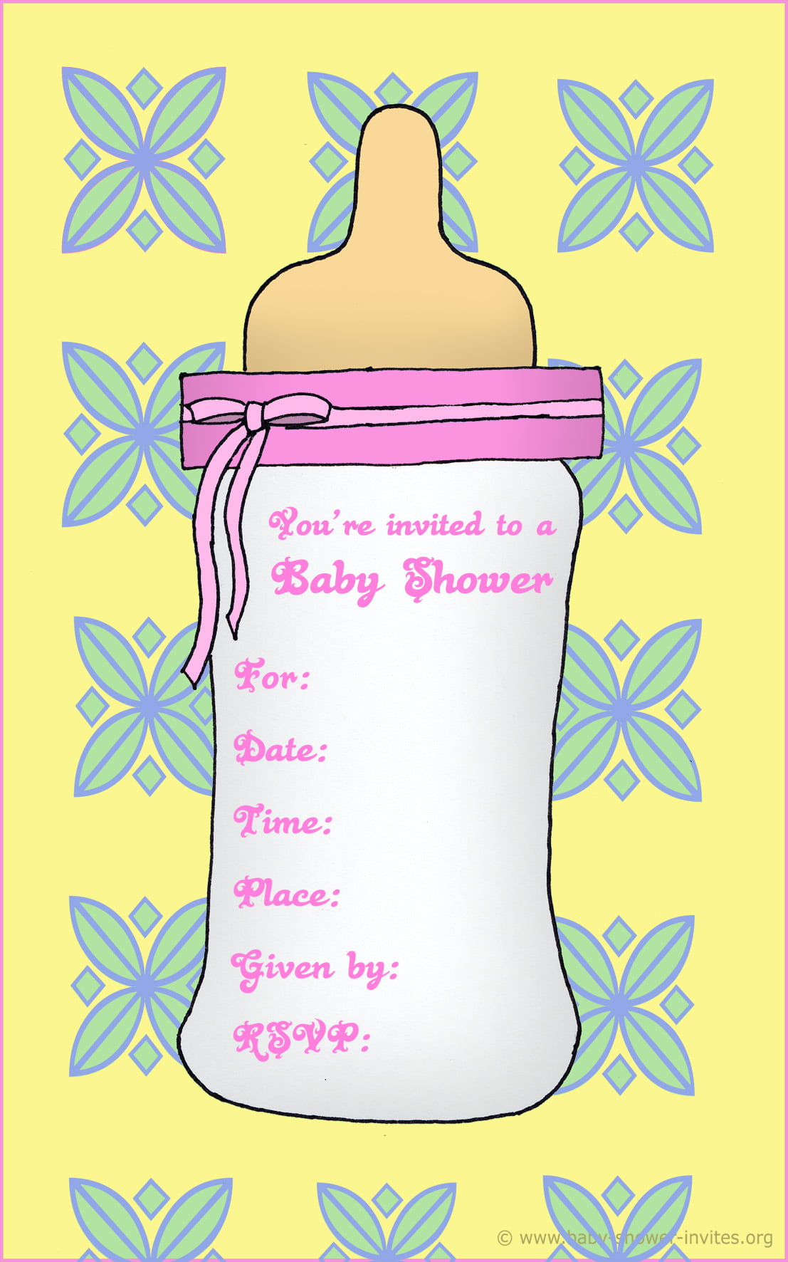 Free Printable Baby Bottle Baby Shower Invitation Template