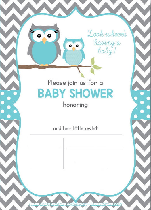 Free Owl Baby Shower Invitations