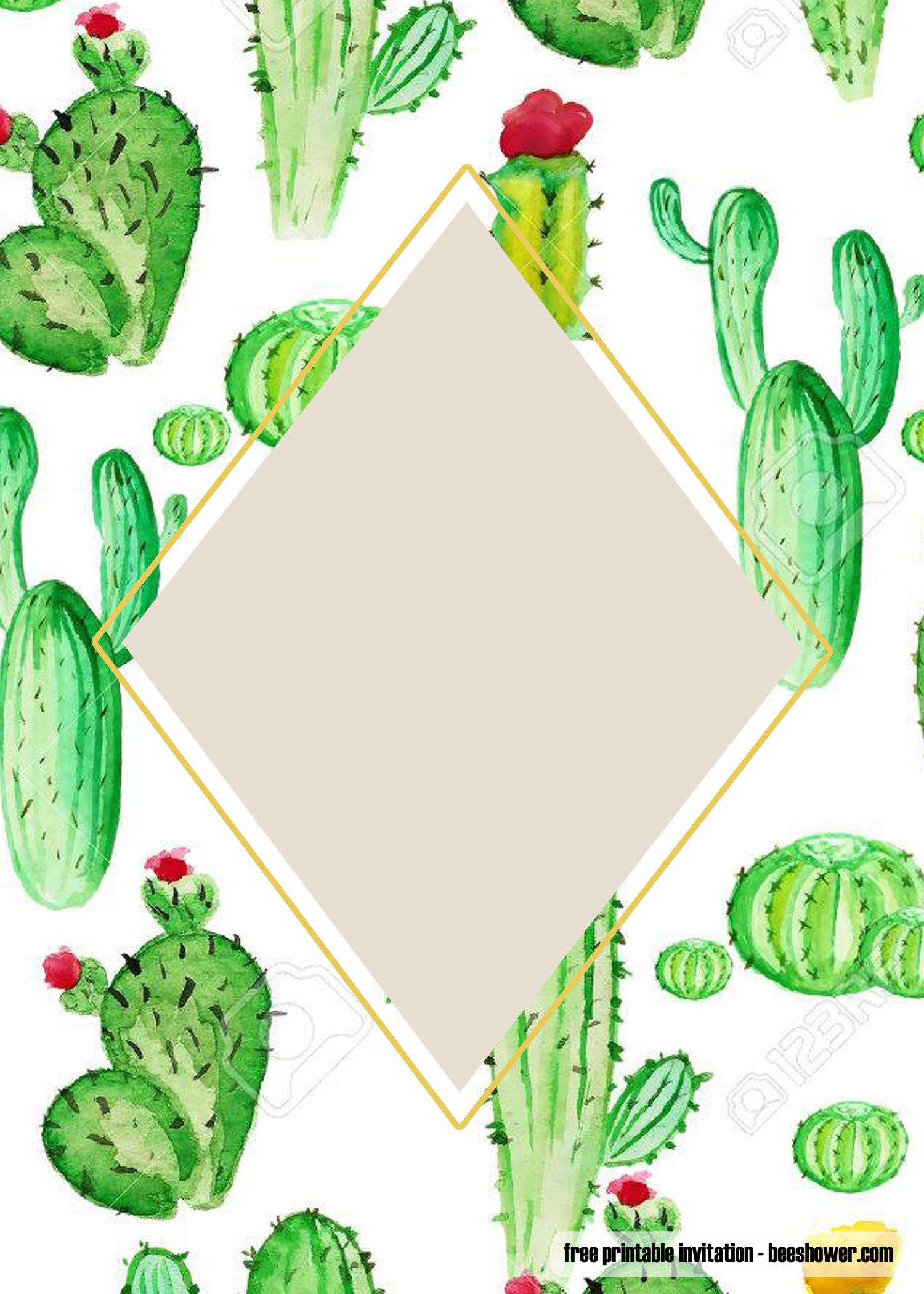 Free Printable Cactus Baby Shower Invitations