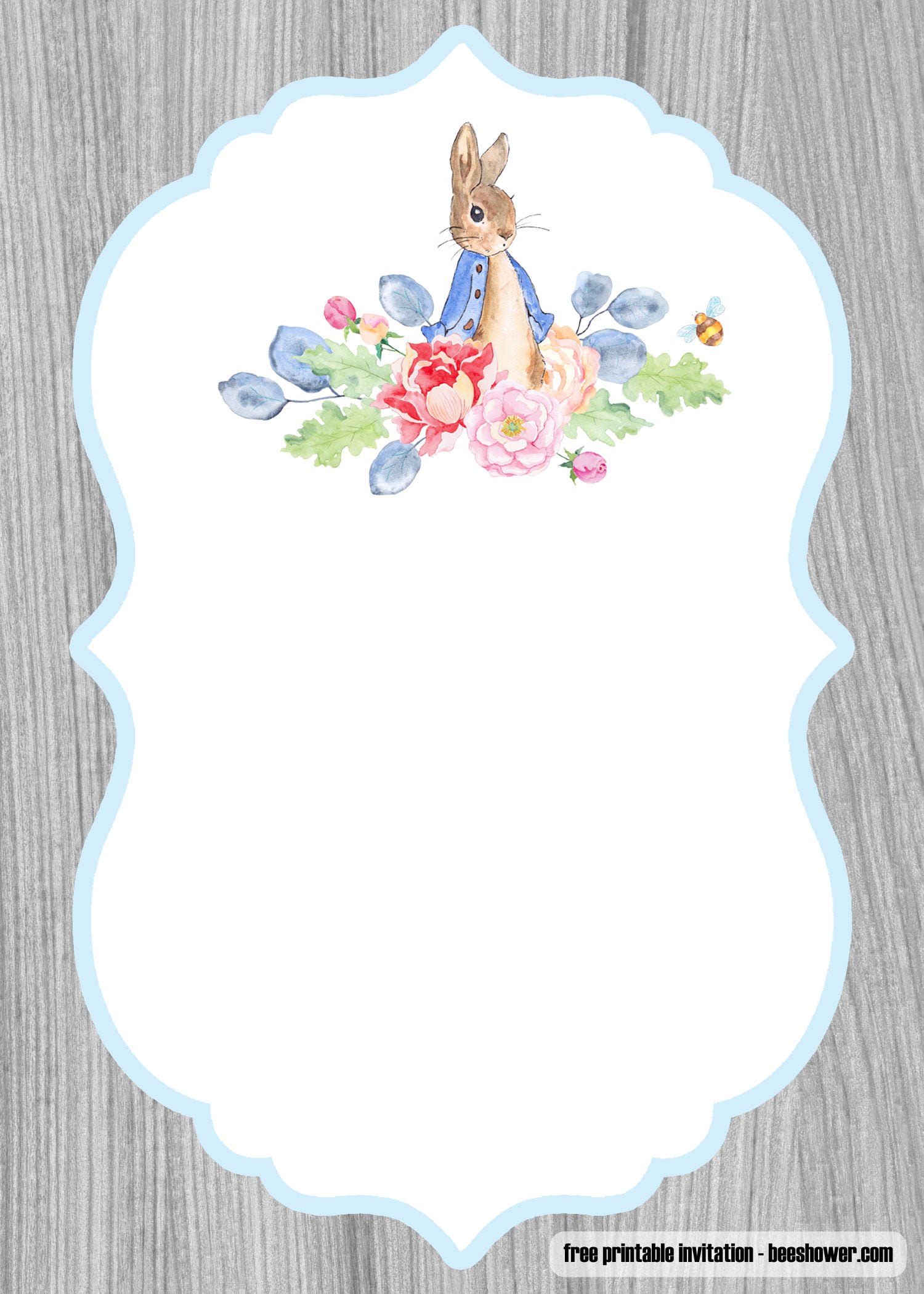 Free Peter Rabbit Baby Shower Invitations Templates
