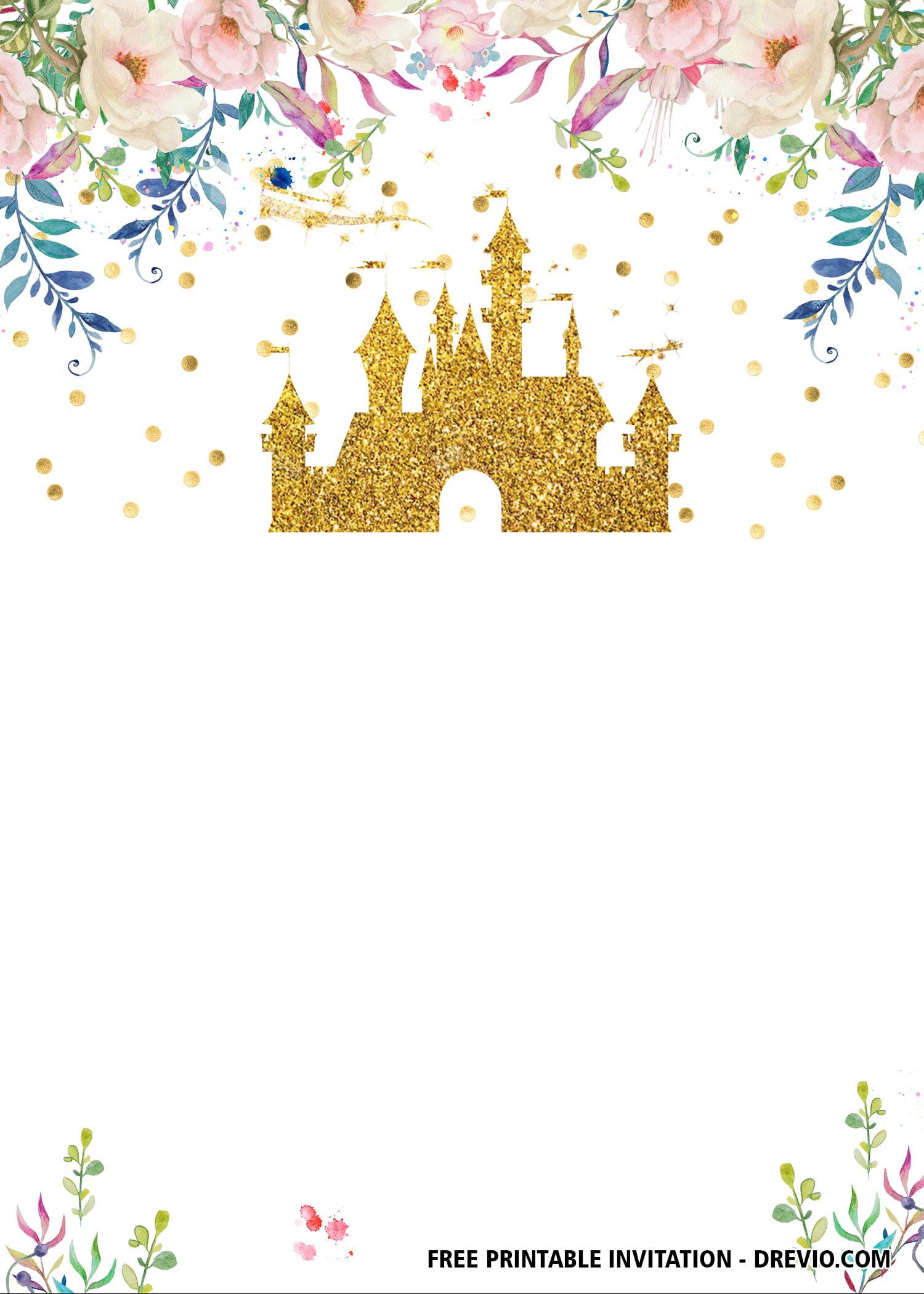 Free Printable Princess Baby Shower And Birthday Invitation