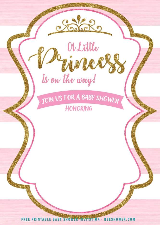 Gold Princess Baby Shower Invitation